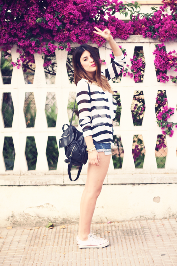 The sheer stripes make this outfit!